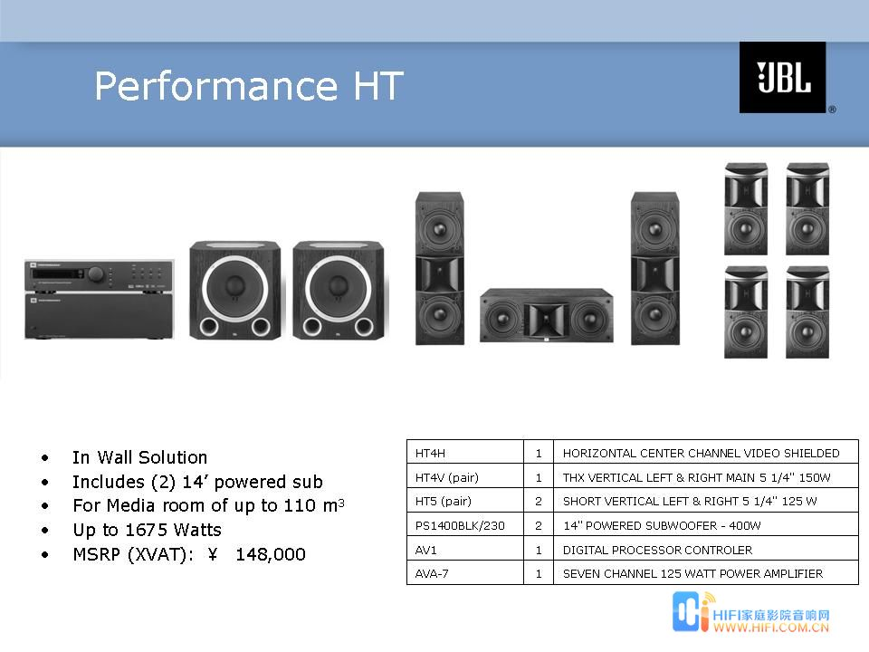 JBL SYNTHESIS  极品 Performance HT 7.2套装
